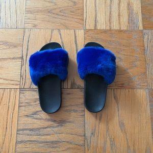 Shoes - Brand NEW Electric Blue Faux Fur Slides!!!